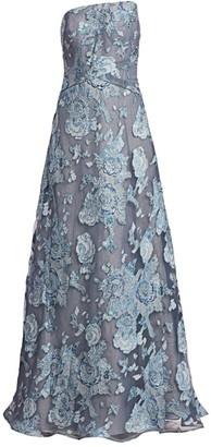 Rene Ruiz Collection Floral Fil Coupe Strapless Gown
