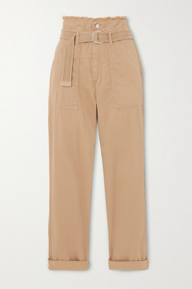 Vanessa Bruno Epagny Belted Frayed Cotton-blend Canvas Tapered Pants - Beige