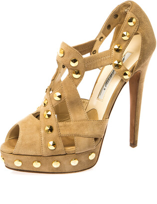 Brian Atwood Beige Cut Out Studded Suede Peep Toe Platform Sandals Size 37