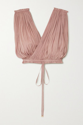 ELENA MAKRI Antigone Cropped Draped Silk-tulle Top - Neutral
