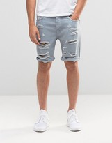 Asos Denim Shorts In Slim Fit With Extreme Rips In Blue
