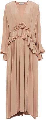 Victoria Beckham Floral-appliqued Pleated Silk Crepe De Chine Maxi Dress