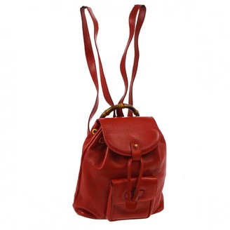 Gucci Bamboo Red Leather Backpacks