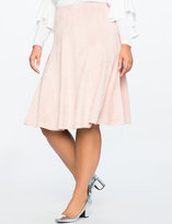 ELOQUII Studio Suede Tiered Flounce Skirt