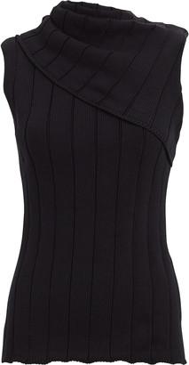 Monse Fold-Over Rib Knit Cotton Top