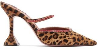 Amina Muaddi Gilda Leopard-print Calf-hair Mules - Leopard