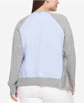 Tommy Hilfiger Plus Size Open-Front Chambray-Back Cardigan