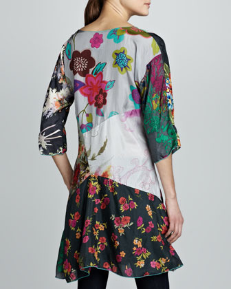 Johnny Was Collection Ditsey Patchwork Silk Tunic
