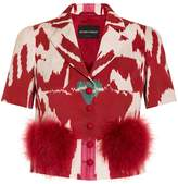 Emporio Armani Ikat and Fur Short Sleeve Jacket
