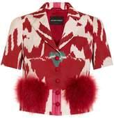 Emporio Armani Ikat and Fur Short Sleeve Jacket