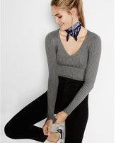 Express wide ribbed v-neck sweater