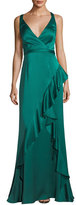 Aidan Mattox Sleeveless Asymmetric Ruffled Satin Evening Gown