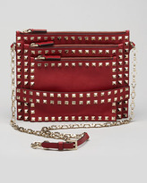 Valentino Rockstud Triple-Zip Crossbody Bag, Scarlet