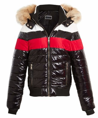 shelikes Womens Puffer Jacket Wet Look Faux Fur Hooded Coat Black (12)