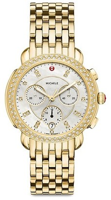 Michele Sidney Mother-Of-Pearl & Stainless Steel Chronograph Watch