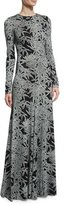 Diane von Furstenberg Leaf-Print Silk Long-Sleeve Gown, Black/Gray