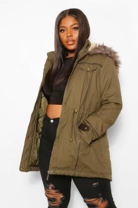 boohoo Plus Parka Coat With Faux Fur Trim Hood