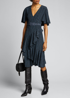 Michael Kors Collection Floral-Print Silk Caped Belted Dress