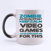Ipcasebuy Mugs ZOMBIE APOCALYPSE? KEEP CALM VIDEO GAMES HAVE PREPARED ME FOR THIS-Design Your Own Morphing 11 Oz Ceramic Mug,Magical Mug,Heat Sensitive Color Changing Coffee Mug,Tea Cup Two Sides. Birthday/Christmas/Thanksgiving gift