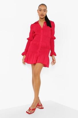 boohoo Shirred Long Sleeve Shirt Dress