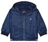 Mayoral Navy Hooded Windbreaker with Stripe Trims