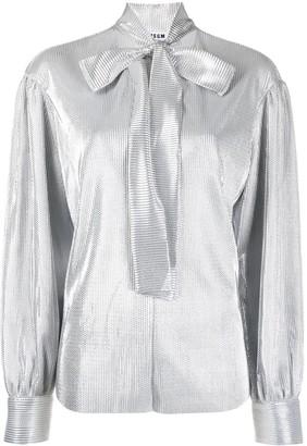 MSGM Shiny Pussybow Shirt