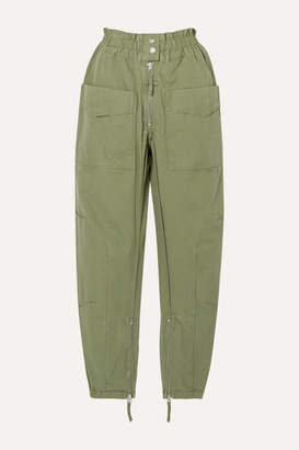 Etoile Isabel Marant Lecia Cotton Tapered Pants - Army green