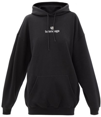 Balenciaga Logo-embroidered Cotton-jersey Hooded Sweatshirt - Black