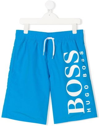 Boss Kids TEEN logo-print quick-dry swim shorts