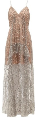 Self-Portrait Sequinned Tulle Maxi Dress - Silver