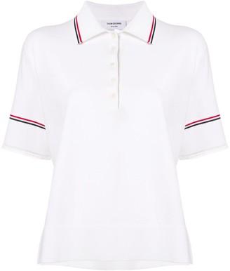 Thom Browne Tipping Stripe Boxy Polo Shirt