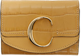 Chloé Yellow Croc Small C Trifold Wallet