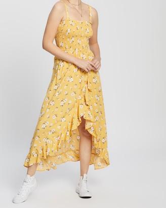 Hollister Hi-Low Smocked Midi Dress