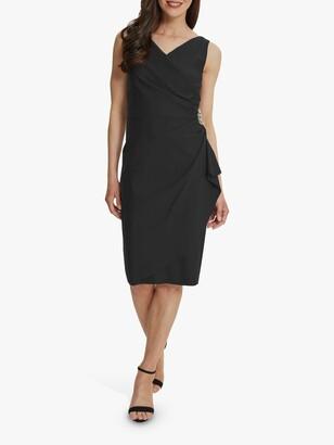 Gina Bacconi Sherry Crystal Embellishment Wrap Dress, Charcoal