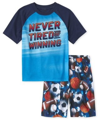 The Children's Place The Childrens Place Short Sleeve 'Never Tired Of Winning' Sports Ball Print Pajama Pant 2-Piece Set (Little Boys and Big Boys)