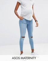 Asos Ridley Skinny Jeans in Hiro Wash with Rips With Under The Bump Waistband