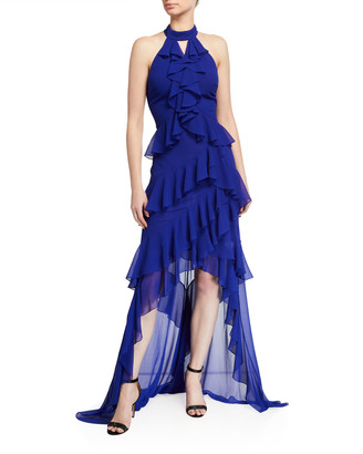 Badgley Mischka Tiered Ruffle High-Low Halter Gown