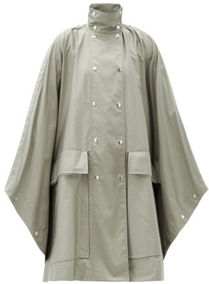 Lemaire Stand-collar Coated Cotton-twill Cape Coat - Mid Grey
