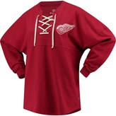 Women's Fanatics Branded Red Detroit Red Wings Lace Up Long Sleeve Spirit T-Shirt