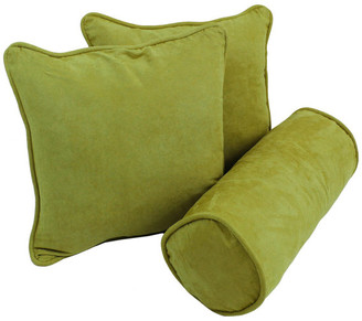 Mojito Solid Microsuede Throw Pillows w/ Inserts, Set of 3, Aqua Blue,