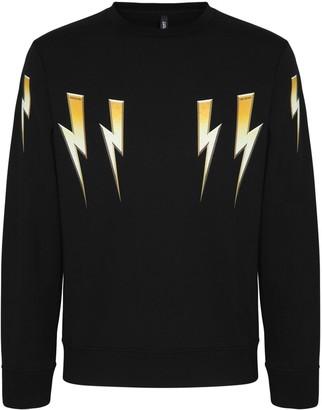Neil Barrett Gold Bolt Print Cotton Blend Sweatshirt