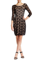 Betsey Johnson 3/4 Sleeve Lace Fit & Flare Dress