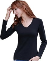 Amoy madrola Women's 100% Cotton V-Neck Staple Top with Long Sleeves T-shirt TT213-XL