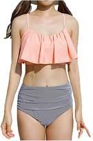 Multitrust Women Strappy Ruffled High Waist Bikini Set Padded Push up Swimwear (L, )