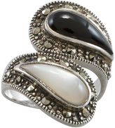 Mother of Pearl Sterling Silver Onyx & Mother-of-Pearl Ring