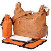OiOi Leather Hobo Diaper Bag - Tan & Orange by