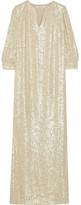 Elizabeth and James Melaney Metallic Fil Coupé Silk-blend Kaftan - Beige