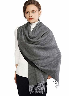 Nobrand Winter Cashmere Wool Scarf Pashmina Shawl Wrap for Women Long Large Warm Thick Reversible Scarves (gray and black)