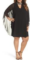 Xscape Evenings Plus Size Women's Embellished Collar Chiffon Overlay Shift Dress