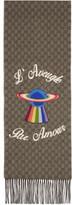 Gucci Beige and Brown Cashmere laveugle Par Amour Saturn Scarf